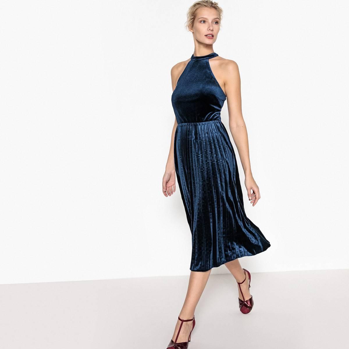 9644813fdb0 Платье расклешенное из велюра с плиссировкой снизу La Redoute Collections  для женщин